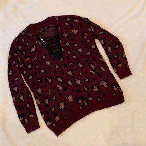 Maroon leopard sweater